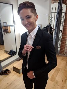 Trying on the suit